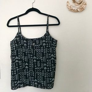 Black and grey patterned tank